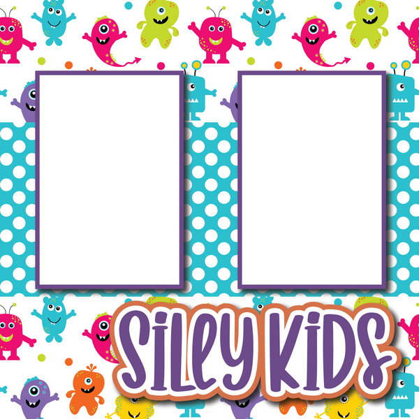 Silly Kids - Printed Premade Scrapbook Page 12x12 Layout