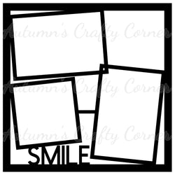 Smile - Frames - Scrapbook Page Overlay Die Cut - Choose a Color