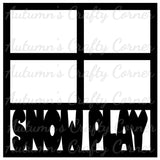 Snow Play - 4 Frames - Scrapbook Page Overlay Die Cut - Choose a Color