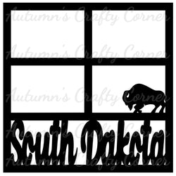 South Dakota - Buffalo - 4 Frames - Scrapbook Page Overlay Die Cut - Choose a Color