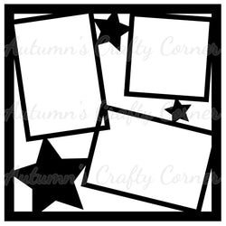 Stars - Frames - Scrapbook Page Overlay Die Cut - Choose a Color