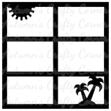 Sun & Palm Trees - 6 Frame - Scrapbook Page Overlay Die Cut - Choose a Color