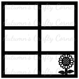Sunflower - 6 Frames - Scrapbook Page Overlay Die Cut - Choose a Color