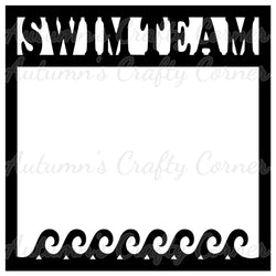 Swim Team - Water Border - Scrapbook Page Overlay Die Cut - Choose a Color
