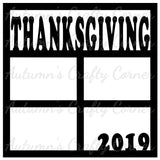 Thanksgiving 2019 - 4 Frames - Scrapbook Page Overlay Die Cut - Choose a Color