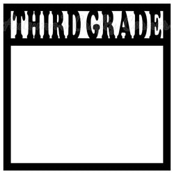 Third Grade - Scrapbook Page Overlay Die Cut - Choose a Color