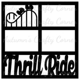 Thrill Ride - Theme Park - 4 Frames - Scrapbook Page Overlay Die Cut - Choose a Color
