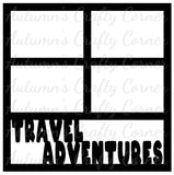 Travel Adventures - 4 Frames - Scrapbook Page Overlay Die Cut - Choose a Color