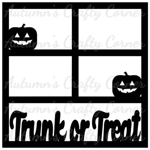Trunk or Treat - Halloween - 4 Frames - Scrapbook Page Overlay Die Cut - Choose a Color
