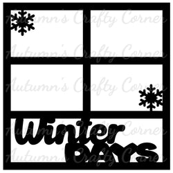 Winter Days - 4 Frames - Scrapbook Page Overlay Die Cut - Choose a Color
