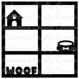 Woof - Dog - 6 Frames - Scrapbook Page Overlay Die Cut - Choose a Color