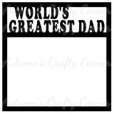 World's Greatest Dad - Scrapbook Page Overlay Die Cut - Choose a Color