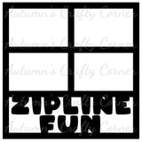 Zipline Fun - 4 Frames - Scrapbook Page Overlay Die Cut - Choose a Color