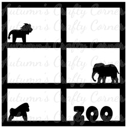 Zoo - 6 Frames - Scrapbook Page Overlay Die Cut - Choose a Color