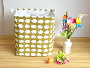 Square Storage Basket with Drawstring Cover