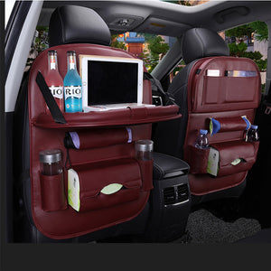 Luxury PU Leather Car Backseat Organizer