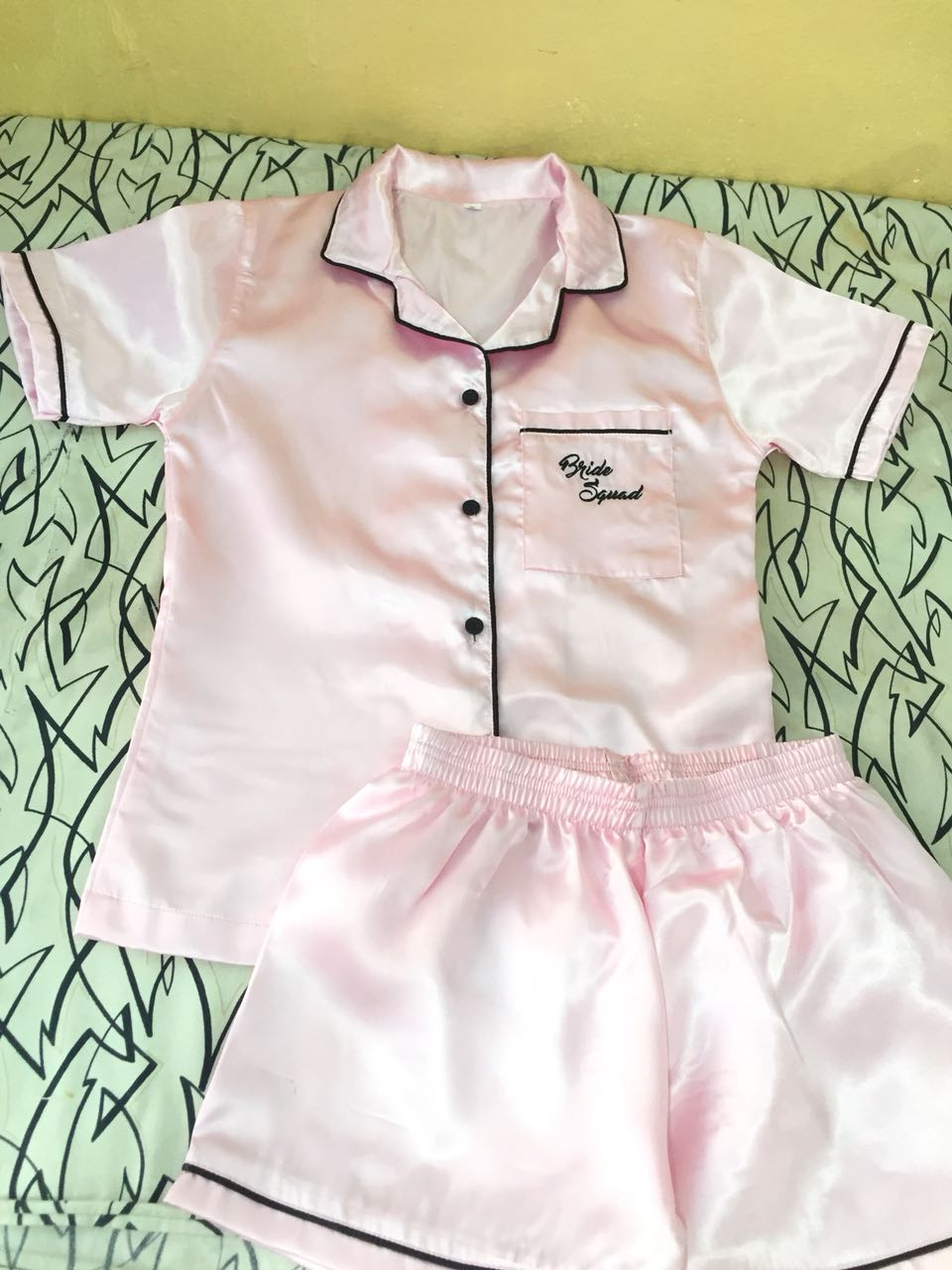 Bride Squad Pink Satin Pajama Set