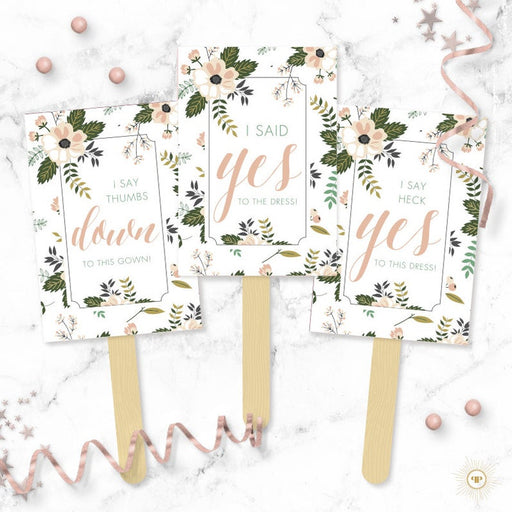 Floral Say YES To The Dress Paddles(8pcs) - Wedding Dress Shopping Signs - Yes No Paddles