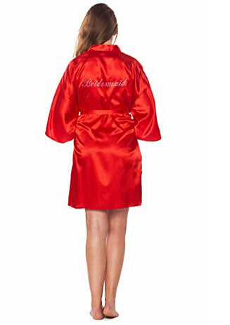 Bridesmaid Faux Silk Red Robe