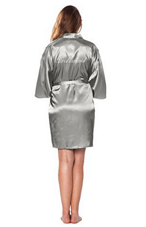 Bridesmaid Faux Silk Silver Robe