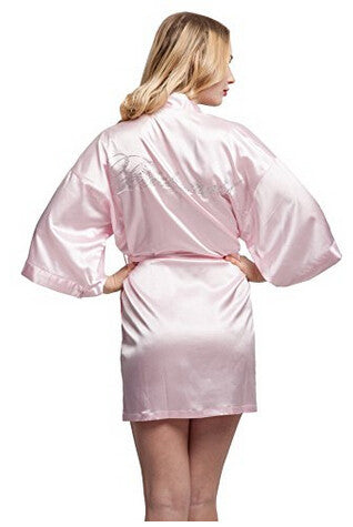 Bridesmaid Faux Silk Light Pink Robe