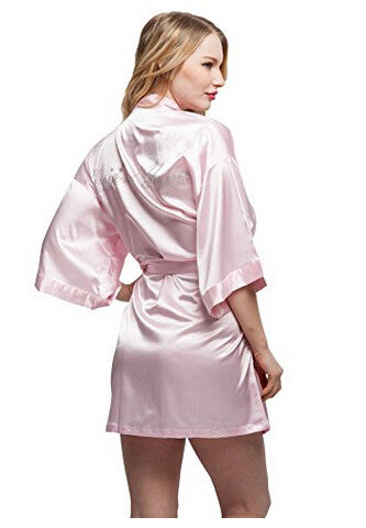 Maid Of Honor Faux Silk Blush Robe