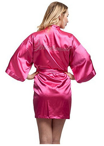 Bridesmaid Faux Silk Pink Robe