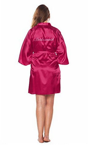 Bridesmaid Faux Silk Fuchsia Robe