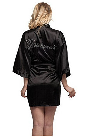 Bridesmaid Faux Silk Black Robe