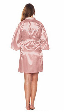 Bridesmaid Faux Silk Rose Gold Robe