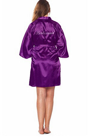 Bridesmaid Faux Silk Purple Robe