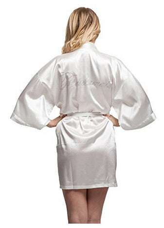 Bridesmaid Faux Silk Ivory Robe