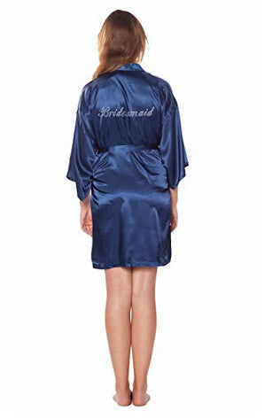Bridesmaid Faux Silk Navy Robe