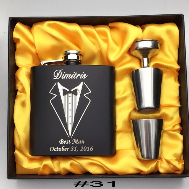 Personalized Engraved Groomsman Flask