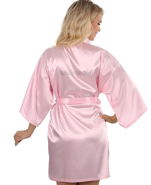 Fashion Silk Bridesmaid Bride Robe Sexy Women Short Satin Wedding Kimono Robes Sleepwear Nightgown Dress Woman Bathrobe Pajamas