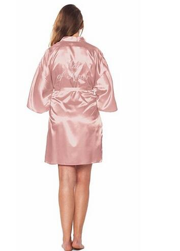 Maid Of Honor Faux Silk Rose Gold Robe
