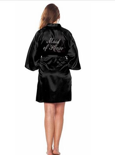 MAID OF HONOR FAUX SILK BLACK ROBE