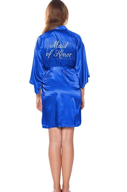 MAID OF HONOR FAUX SILK BLUE ROBE