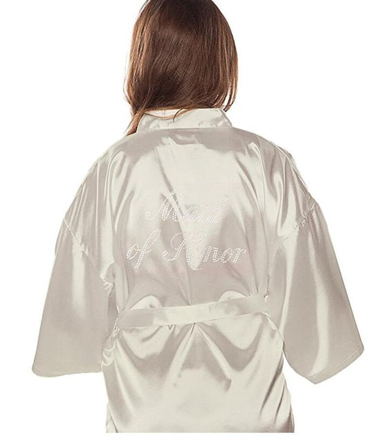 MAID OF HONOR FAUX SILK IVORY ROBE