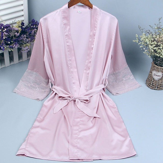 Lace sleeve sexy women nightwear robes plus size gold letter wedding kimono satin silk female bathrobes bridemaids robes
