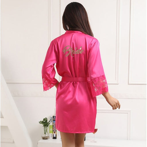 Bride Lace Sleeve Magenta Robe