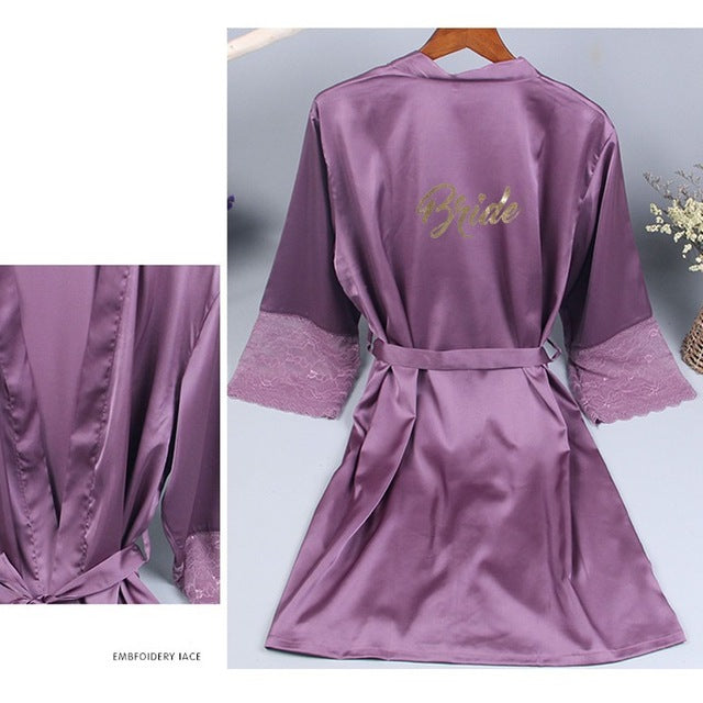 Bridesmaid Lace Sleeve Purple Robe