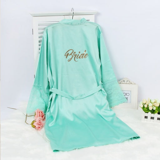 Bride Lace Sleeve Turquoise Robe