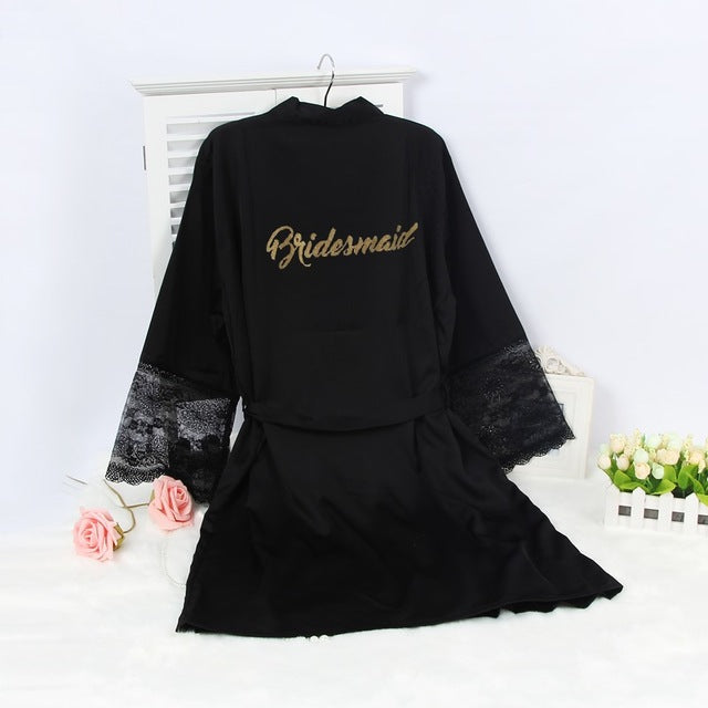 Bridesmaid Lace Sleeve Black Robe