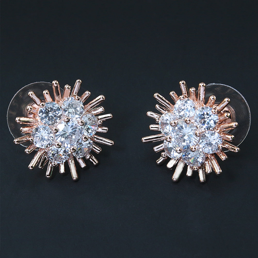 Cresent Rose Gold Bridesmaid Wedding Studs