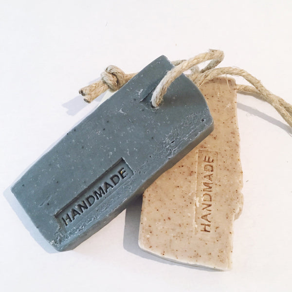Handmade Soap- Charcoal with Poppy Seed and Lemongrass Essential Oil with Rustic Rope