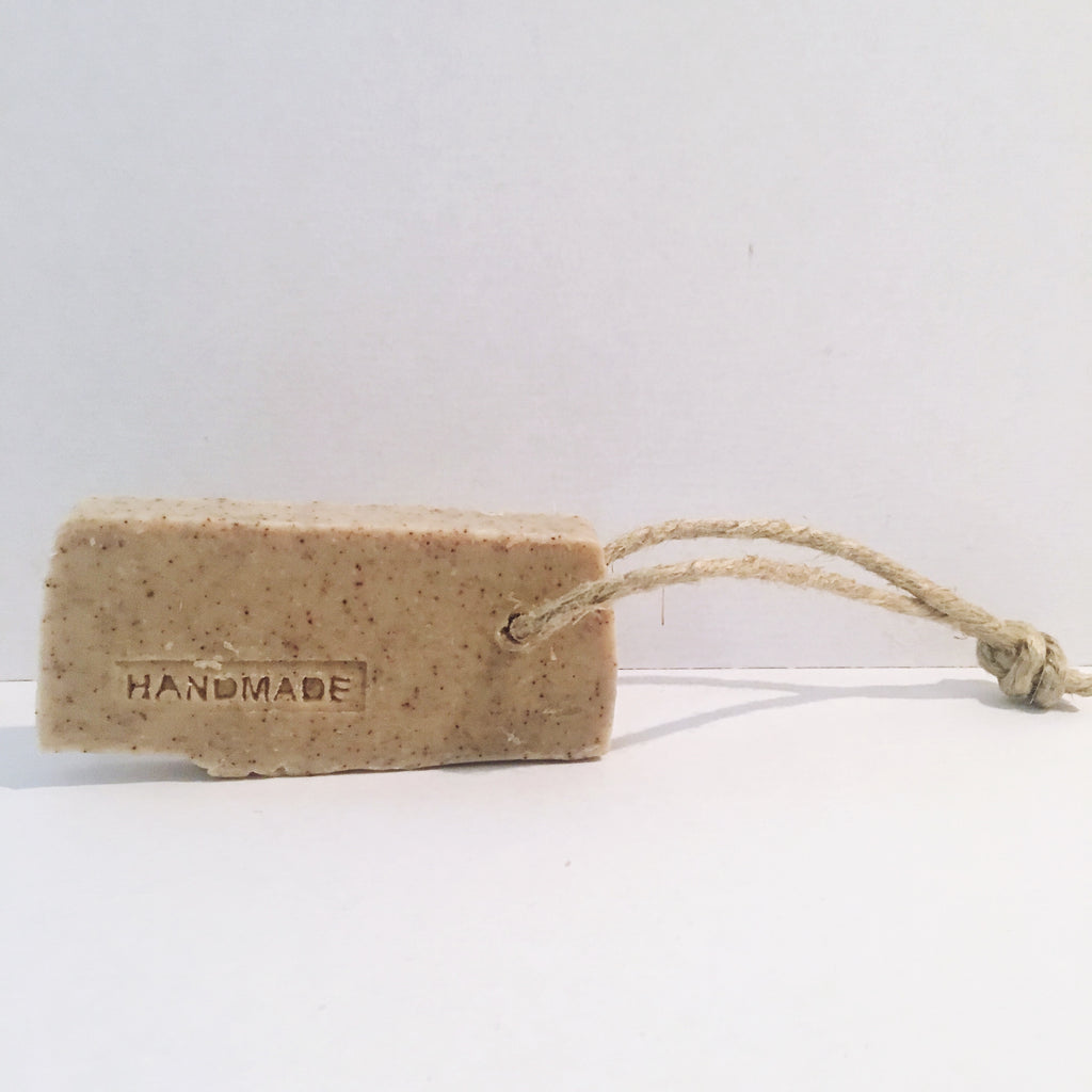 Handmade Soap- Coffee Olive Oil Soap with Rustic Rope