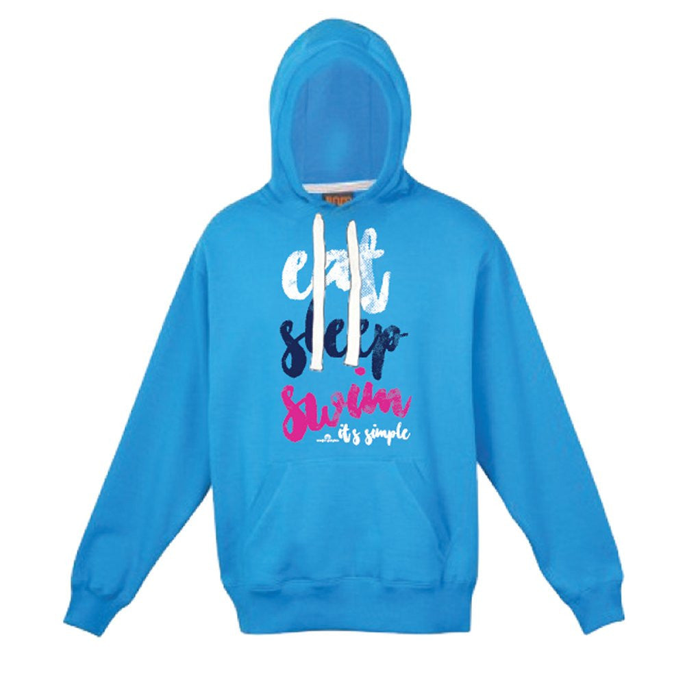 Eat Sleep Swim - Ladies & Girls Heavyweight Hoodie Aqua