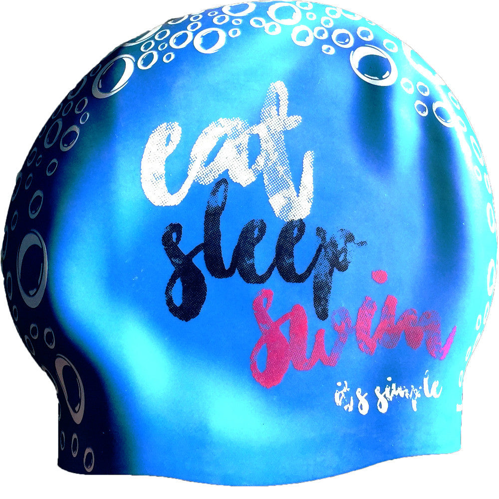 Eat Sleep Swim - It's Simple - Aqua/Pink Seamless Silicone Swim Cap