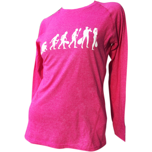 Evolution of Outrigger - Ladies Long Sleeve T-Shirt in Pink Heather